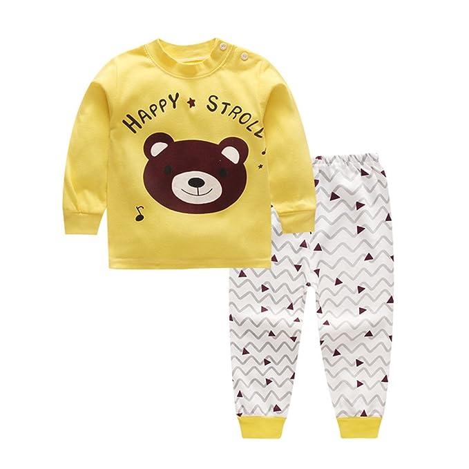 Conjunto de pijamas de primavera y verano para bebés y niños recién nacidos, ropa interior