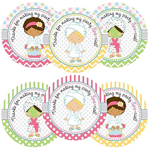 Girl Spa Party Sticker Labels - Birthday or Baby Shower Favor Labels and Envelope Seals - Set of 30