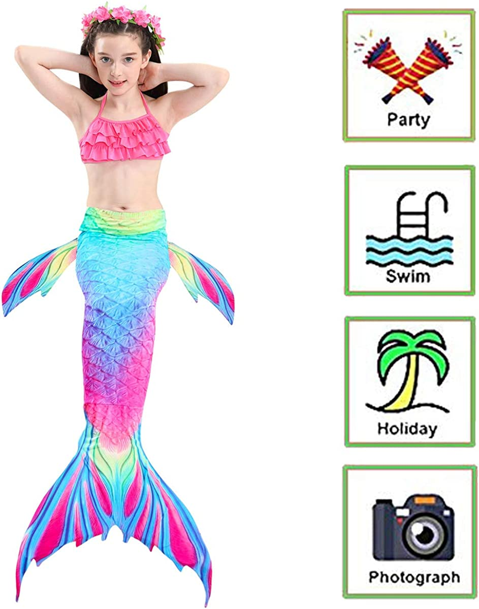 5Pcs Swimsuit with Mermaid Tails for Swimming Bikini Bathing Suit Set for Girls 4T 6T 8T 10T 12T