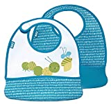 Built 2-Piece Mess Mate Toddler Bib, In Dribble Dots Blue