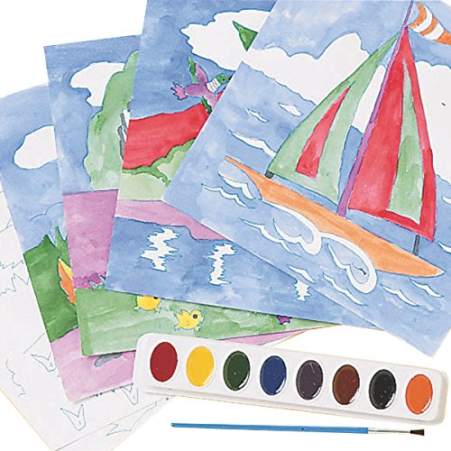 Watercolor Paint-By-Numbers Craft Kit – Pack of 36