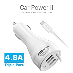 Portronics POR 334 3 USB Port Car Charger with Micro USB Cable (White)