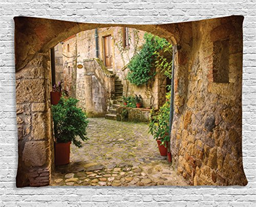 - Ambesonne Scenery Decor Tapestry by, Landscape from another Door Antique Stone Village Tuscany Italian Valley, Wall Hanging for Bedroom Living Room Dorm, 80WX60L Inches, Multicolor