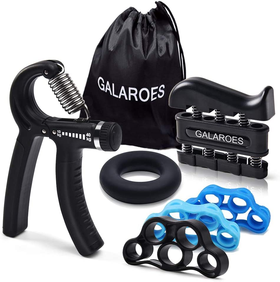 GALAROES Hand Grip Strengthener Forearm Grip Workout Kit Adjustable Hand Gripper Finger Exerciser Equipment Finger Strengthener Resistance Bands, Grip Ring for Hand Finger Strengtheners