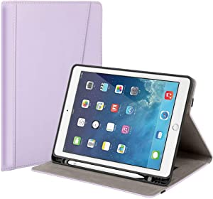 Gshine Case for iPad 6th Generation, iPad 9.7 Case 2018/2017, Full-Body Protective Rugged Shockproof Case with Built-in Handstrap& Apple Pencil Holder,Auto Sleep/Wake- Apple Purple