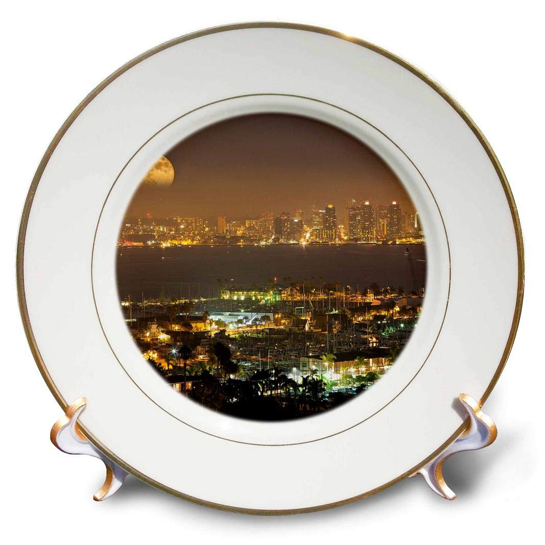 cp/_207883/_1 8-inch 3dRose Moonrise over the San Diego skyline Porcelain Plate