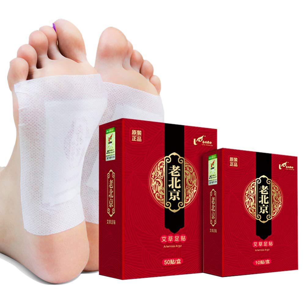 Wormwood Extract Bamboo Vinegar Foot Pads, Promote Blood Circulation & Metabolism, Pain & Stress Relief, Improve Sleep Foot Care - 50 Pcs by RedDhong