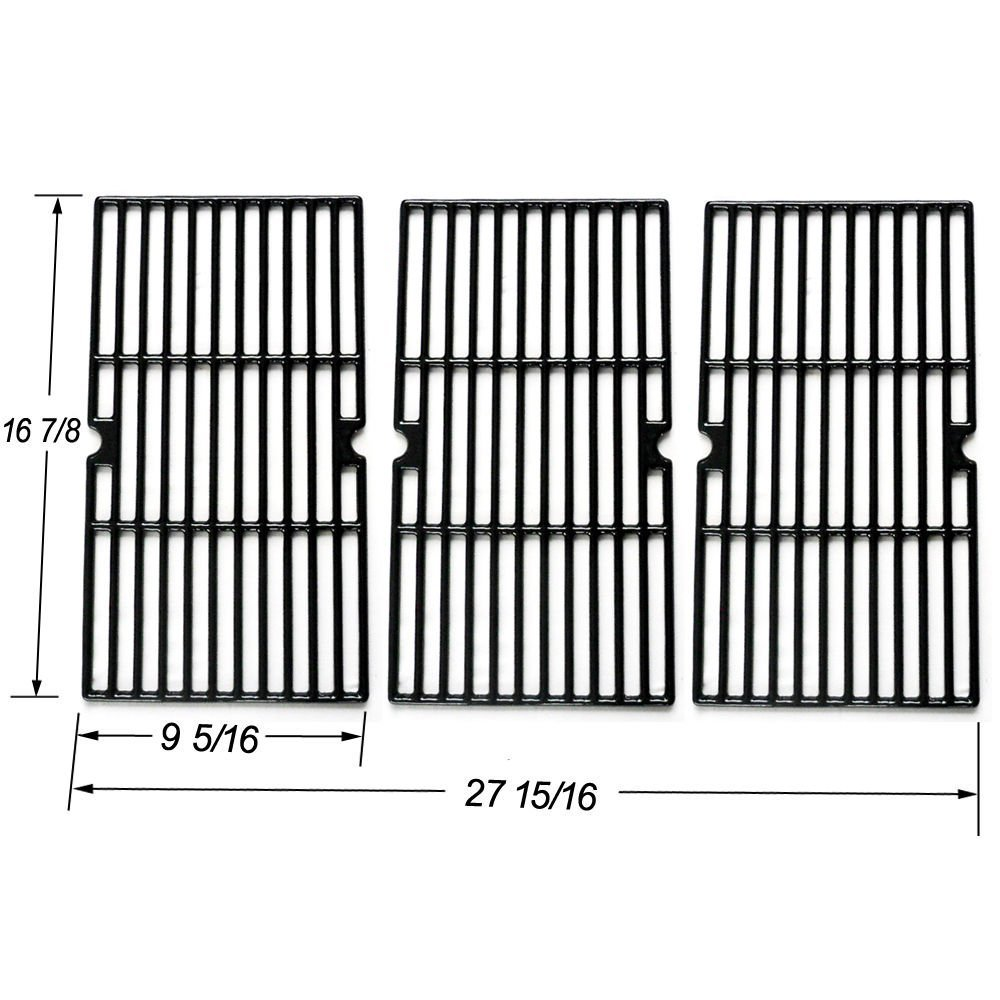FAS INDUSTRY JGX763 Cast Iron Cooking Grid Replacement,Matte Black Coated Cooking Grate Gas Grill Models By Charbroil, Kenmore, Master Chef and Others, Set of 3