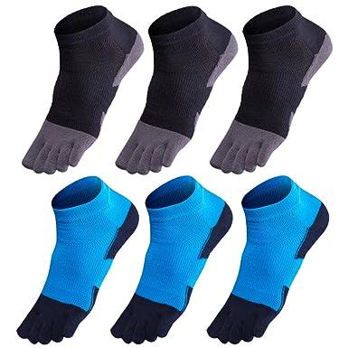 GINZIN Hombres Deportes Cinco calcetines del dedo del pie 6 pares,cinco calcetines de los