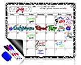 Dry Erase Calendar Magnetic Whiteboard for Refrigerator: 3 Fine Tip Dry Erase Markers and Eraser: Magnetic for Refrigerator: Back To School Organizer: Magnetic Calendar for Office