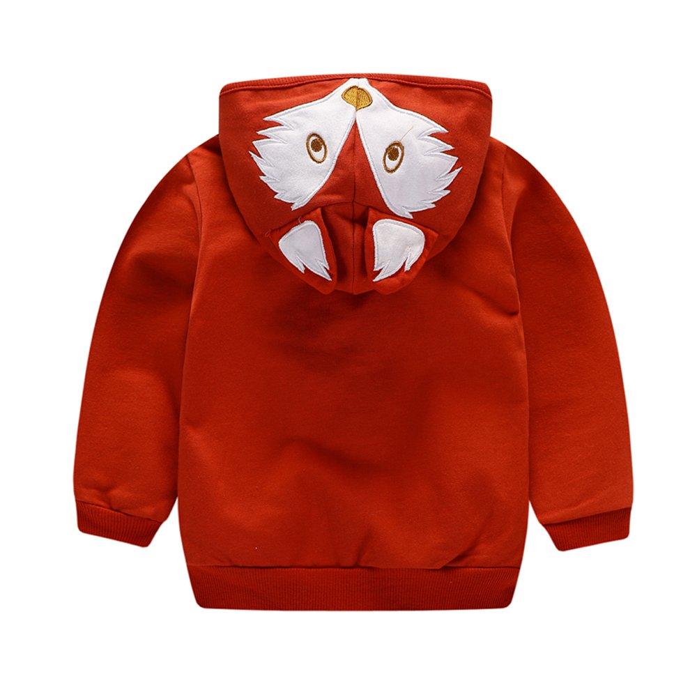 HUAER/& Baby Boys Cotton Cartoon Fox Zip Front Jacket Hoodie Sweatshirt