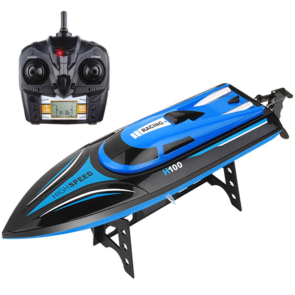 RC Boats Toy, Mioshor Remote Control Boat H100 for Adults Kids 2.4G 4CH RC Speed Boats with LCD Display for Lakes Pools