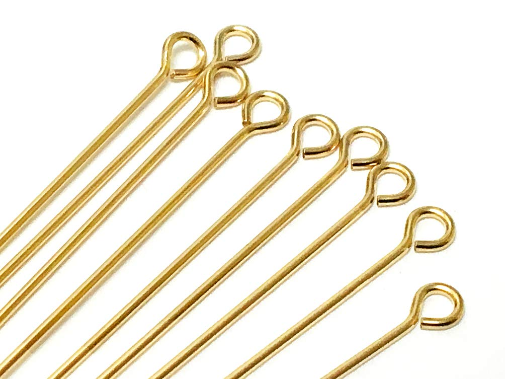 14K Gold Filled Eyepins, 1.5 Inch, 22 Gauge, Choose Package Size (100) by BeadWholesaler