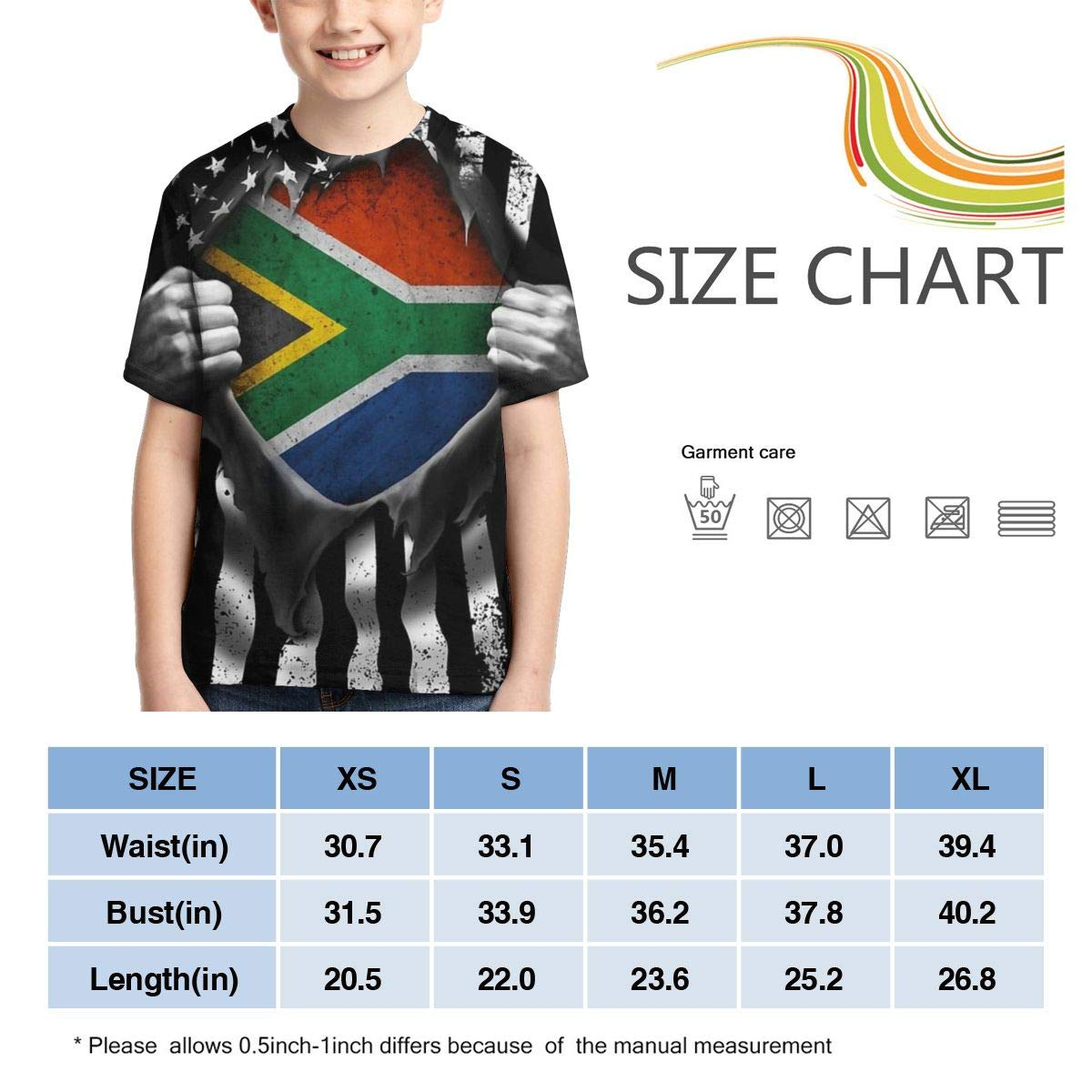 Boys Short Sleeve Pull Apart Shirts South African American Flag Kids Children 3D T Shirts Teenagers Tee Tops