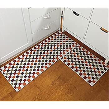Easychan 2 Piece Carpet Rubber Backing Non Slip Kitchen Rugs Mat Doormat  Area Rugs (