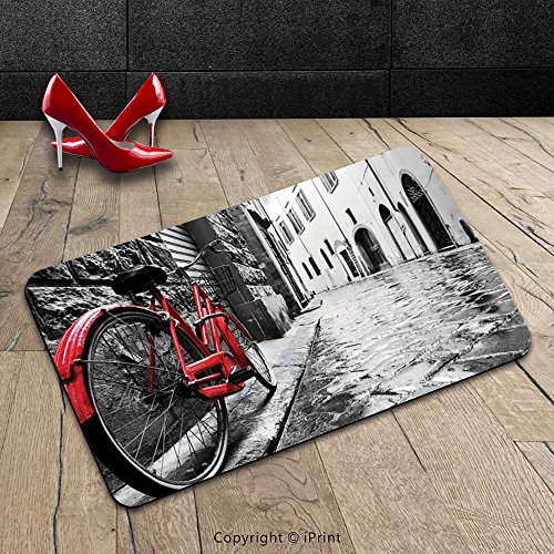 Custom Machine-washable Door Mat Bicycle Decor Classic Bike on Cobblestone Street in Italian Town Leisure Charm Artistic Photo Decor Red Black and White Indoor/Outdoor Doormat Mat Rug Carpet