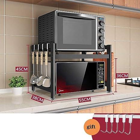 Acero Inoxidable Negro Plataforma De Almacenamiento con 5hooks For La Cocina De Almacenamiento Y Suministros De La Sala BCL Soporte Microondas 1//2//3 Niveles Encimera Horno De Microondas Rack