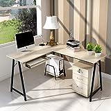 电脑桌台式桌简约现代办公桌家用卧室转角写字桌简易书桌双人桌子(转角电脑桌 白枫木色)