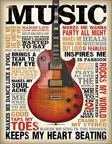 Poster Revolution Music Inspires Me Distressed Retro Vintage Tin Sign 13 x 16in