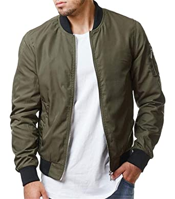 83168867fea Domple Mens Zip Front Military Outdoor Solid Color Bomber Jacket Baseball Coat  Army Green US XS