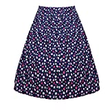 HDE Women's Plus Size Vintage Flared Pleated A Line Midi Skirt (Flowers, 2X)