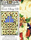 """3pc Fruit Ruffle Kitchen Curtain 58"""" Wide Printed Linen Fabtic Window Curtain Tier and Swag"""