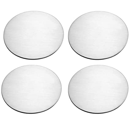 BTMB Stainless Steel Round Coaster Dia 3.3 Inch Cup Coasters Protect Coffee Table from Beer Mugs and Wine Glasses,Pack of 4