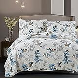 Dodou European Style Quilt Bird Garden Theme Patchwork Bedspread/Quilt Sets 100% Cotton Queen Size 3pcs
