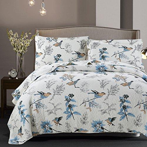 Dodou European Style Quilt Bird Garden Theme Patchwork Bedspread/Quilt Sets 100% Cotton Queen Size 3pcs by Dodou