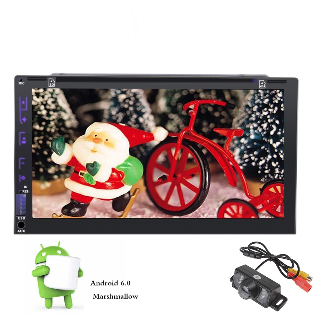 7'' Android 6.0 Quad Core Double Din Car Radio Stereo DVD Player In Dash Head unit Autoradio GPS Navigation Touch Screen Bluetooth/1080P/WiFi/Subwoofer/Steering Wheel Control/AM FM Radio