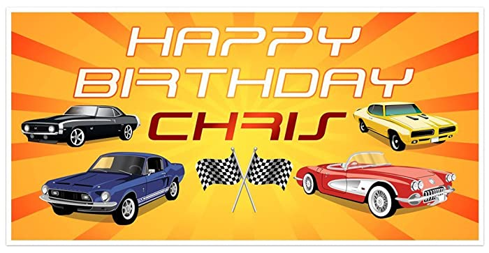 Amazon Com Classic Muscle Cars Birthday Banner Personalized Party