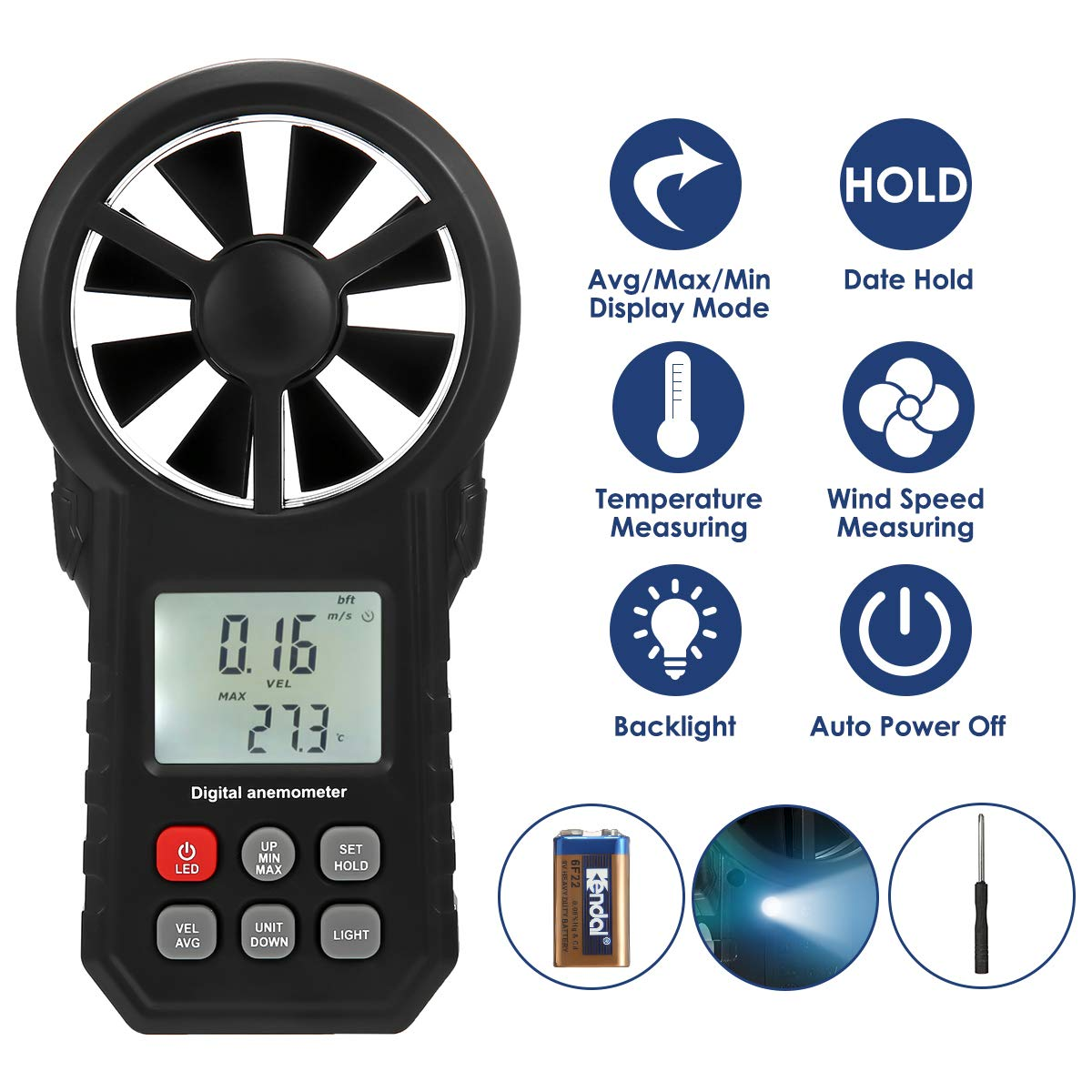 LIUMY Handheld Anemometer Digital Wind Speed Meter for Avg|Max|Min Wind Speed, Wind Temperature, Wind Chill with Data Hold, LCD Backlight and Flashlight Suitable for Outdoor Climbing Surfing Fishing