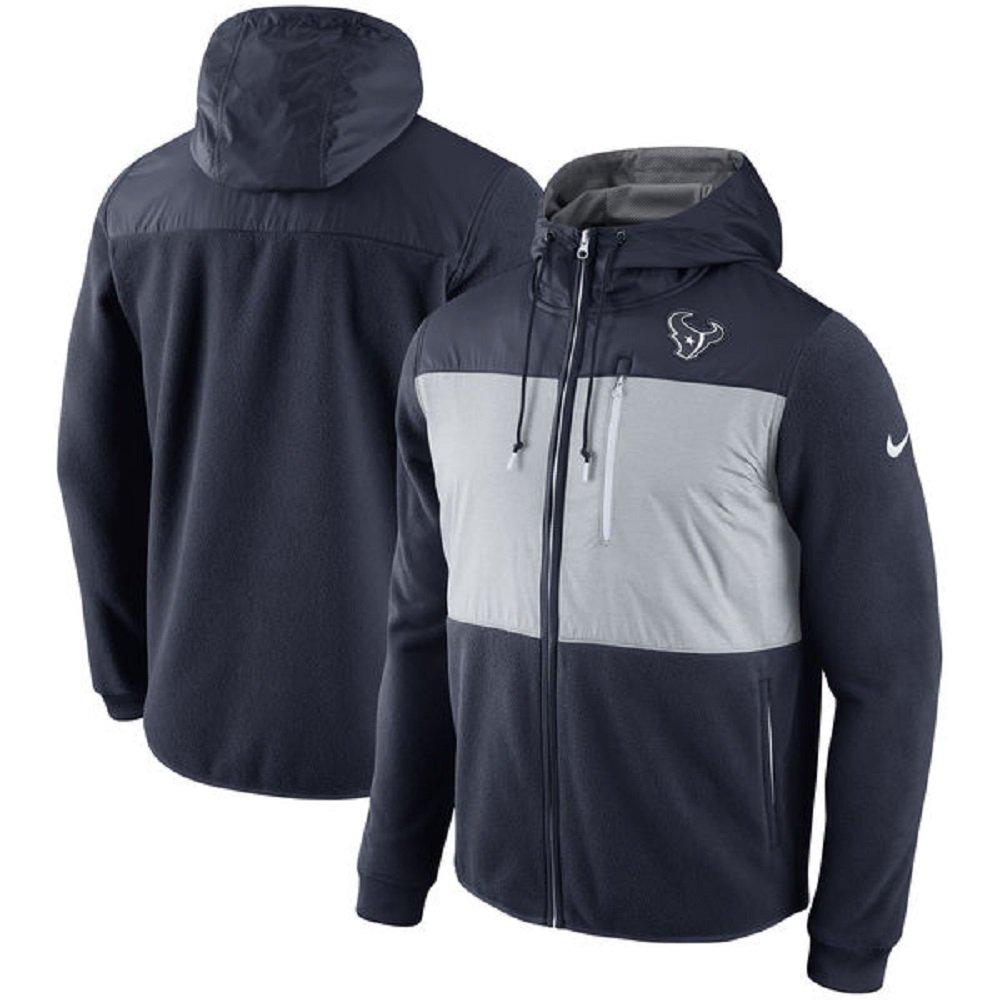 NIKE Men's NFL Houston Texans Championship Drive Fleece Full-Zip Hoodie 803243-459 (Medium) Navy/Gray
