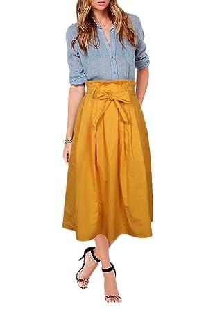 Uideazone Women Ladies Causal Skirts High Waisted Swing Plain Maxi Long  Skirts Long M
