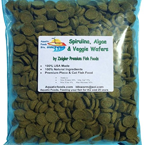 0.5' Disc Color - Aquatic Foods Inc. Wafers of Algae & Spirulina, Zeigler Wafers. The Premium Pleco & Cat Fish Food ...1-lb