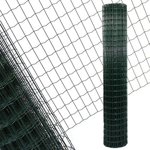 Gartenzaun Grün - 25m Länge x 2 m Höhe + kostenloser Versand / Maschendraht Zaun Gitterzaun Maschung 7,5x5 cm Schweißgitter Wildzaun 25m x 2m