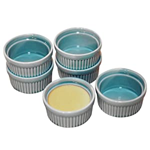 Cinf Porcelain Ramekin Blue 4 oz. Pudding Bowls Dishes Cup For Baking, Set of 6,Souffle Cups Dishes, Creme Brulee, Custard Cups, Desserts, Oven, Microwave, Freezer and Dishwasher Safe …