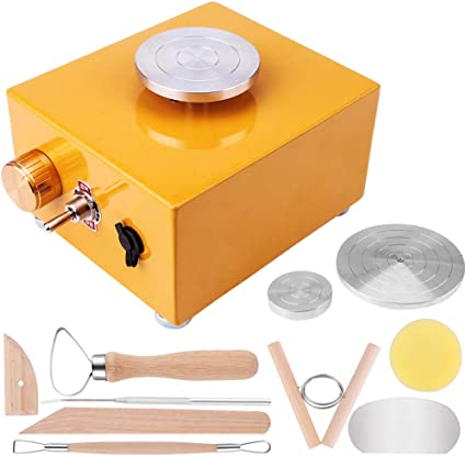 Pottery Machine Electric Pottery Wheel with Pottery Wheel Turntable DIY Clay Tool with Tray for DIY Art Clay Making Working Machine Craft Red Mini Pottery Wheel