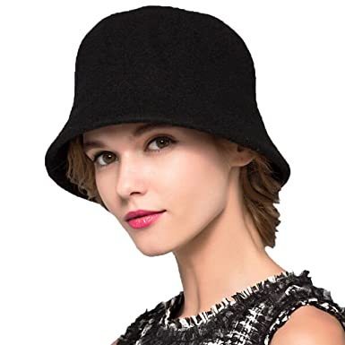 Maitose Trade  Women s Simple Wool Felt Bucket Hat Black at Amazon ... d6bf6824cd