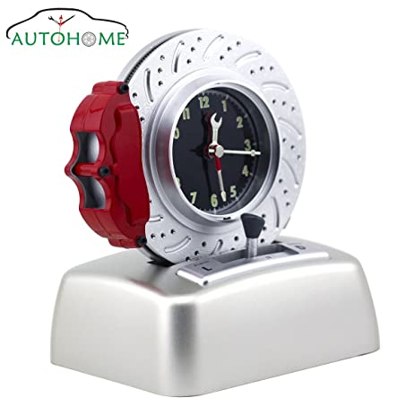 kids alarm clock no ticking analog battery operated cool car lover rotating tire bell with