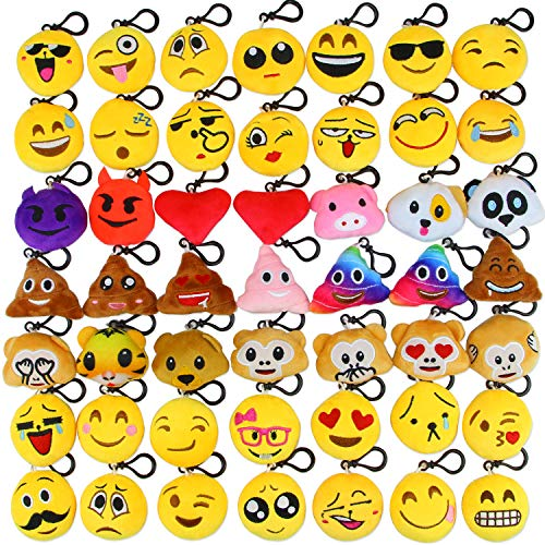 Dreampark Emoji Keychain Mini Cute Plush Pillows, Key chain Decorations, Kids Party Favors Supplies Decor Easter Eggs Fillers (49 Pack)]()