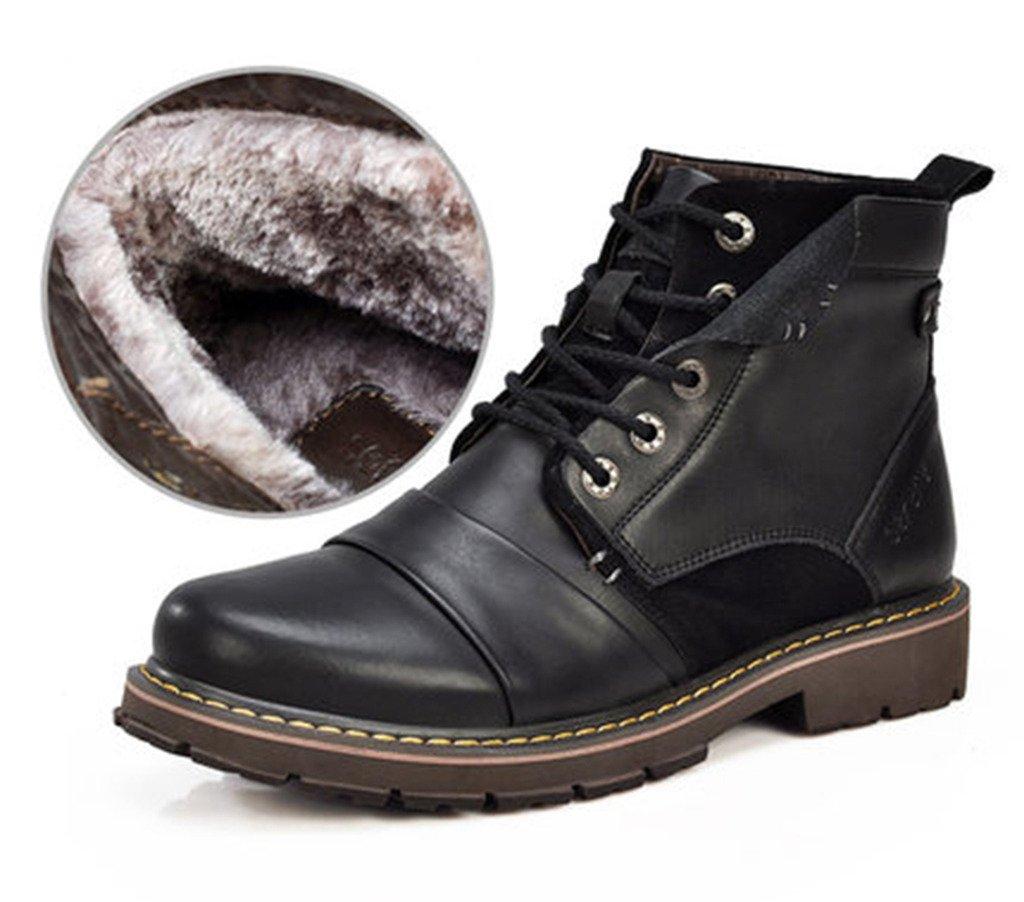 SUNROLAN xr3166jiamaohei42 Drew Men's Retro Spilt Leather Lace-Up Faux Fur-Lined Engineer Ankle Boots Faux Fur-Black US 9.5
