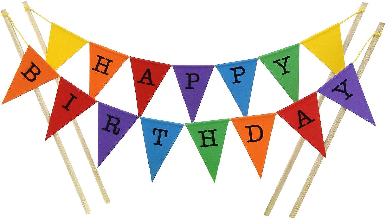 Juego de banderines de Feliz cumpleaños para pastel: Amazon.es ...