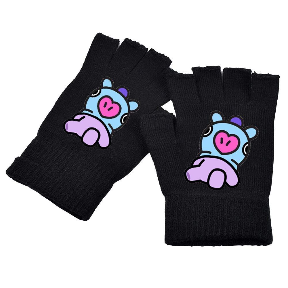 Monsta X Kpop BTS EXO GOT7 Twice Blackpink Seventeen Monsta X Wanna One Knitting Gloves for The Army Teblacker 1 Pair BTS Gloves