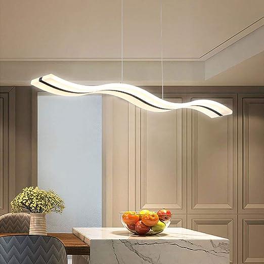 Moderna lámpara colgante LED con forma de onda de luz regulable moderna LED araña lámpara de techo para salón comedor comedor cocina cocina mesa (regulable con mando a distancia): Amazon.es: Iluminación
