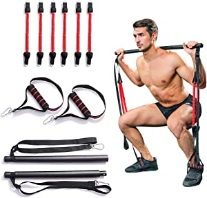 YINAO Portable Home Gym Pilates Bar System,Full Body Workout Equipment for Home, Office or Travel,Weightlifting and HIIT Interval Training Kit