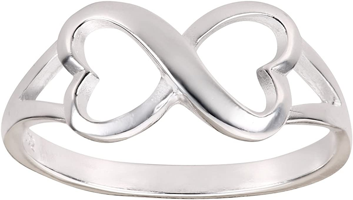CloseoutWarehouse Sterling Silver Heart Infinity Ring (Sizes 3-13)