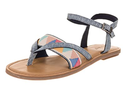 c38da94abef3 TOMS Women s Lexie Sandal Blue Slub Chambray Multi Tribal 5.5 ...