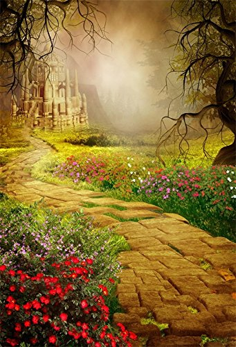 Baocicco 5x7ft Fairy Tale Princess Girl Birthday Backdrop Dreamland Fantasy Forest Castle Backdrop Foggy Garden Blooming Flower Pathway Children Adult Photography Background Garden Tea -
