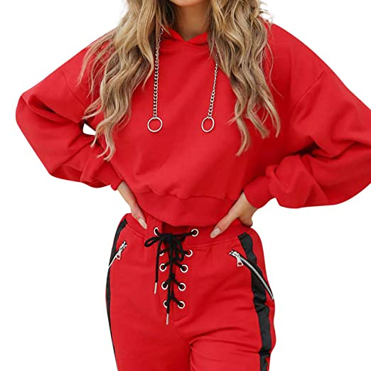 5fe1d4681020b Womens Cute Hooded Sweatshirt Chain Ring Drawstring Pullover Crop Tops Long  Sleeve (Red